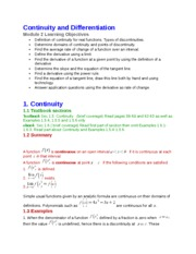 2 Continuity and Differentiation