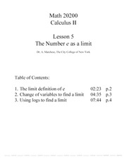 Calc II Lesson 05 The Number e as a Limit