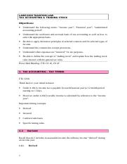 Topic Outline - Trading Stock & Tax Accounting.doc