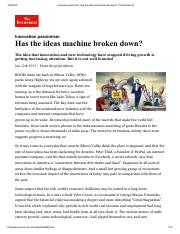 Innovation pessimism_ Has the ideas machine broken down_ _ The Economist