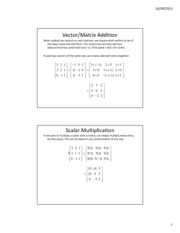 Lesson 6b - Matrix Addition, Scalar Mult, and Transpose