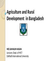 Lecture 21-22 - Agriculture & Rural Development.pptx