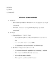 Informative Speech Outline (Sample)