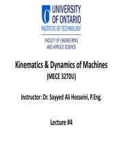 04 Kinematics and Dynamics of Machines Lecture #4