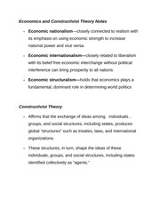 Economics and Constructivist Theory Notes