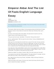 A Modest Proposal Essay Emperor Akbar And The List Of Fools English Language Essaydoc  Essay  Print Referencethis Publishedrdmarch  High School Essays Examples also Essay English Spm Emperor Akbar And The List Of Fools English Language Essaydoc  Essays Term Papers