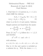 Homework 1 Solution on Matrices