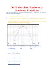 06.05 Graphing Systems of Non-Linear Equations.docx - After a dreary ...