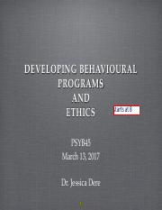 Lec 10 ethics & develop behav program,