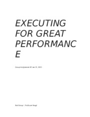 EXECUTING FOR GREAT PERFORMANCE