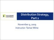 Nov 9 - Distribution Strategy, Part II