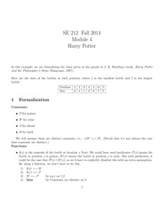 SE 212 Fall 2014 Module 4 Formalization - Harry Potter Example Notes