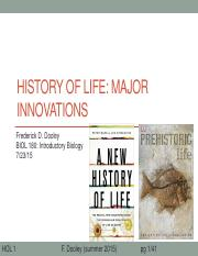 20 History of life 1 major innoviations after class update