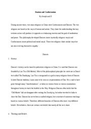 Draft Report Daoism and Confucianism