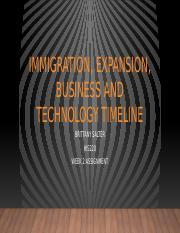 Immigration, Expansion, Business and Technology timeline