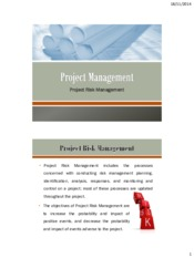 Lecture 10 Risk Management for Project Management for Chemical Engineering