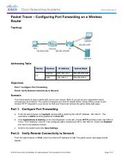 11.2.4.4 Packet Tracer - Configuring Port Forwarding on a Wireless Router