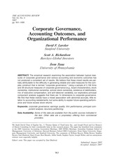 Corporate Governance, Accounting Outcomes, and Organizational Performance (Larcker, Richardson, and