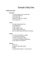 Sample Daily Diet Endurance