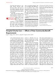 Hospital Charity Care — Effects of New Community-Benefit