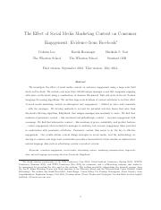 social media marketing content on consumer engagement