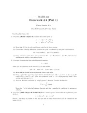 Homework D on Nonlinear Systems & Modeling