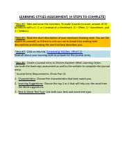LEARNING STYLES ASSIGNMENT, (4 Steps to Complete).docx