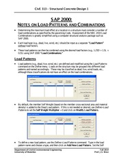 CivE-313-SAP 2000 Notes-Load Patterns and Combinations