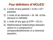 four definitions of moles!