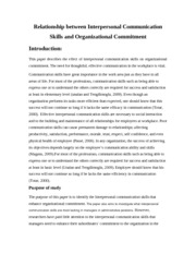 Relationship between Interpersonal Communication Skills and Organizational Commitment