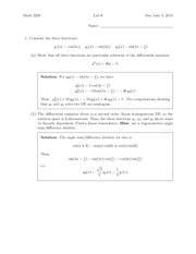 Lab 6 Solution Summer 2014 on Differential Equations and Linear Algebra