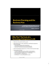Business Planning and the Business Plan