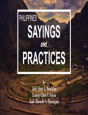Philippines' Sayings and Practices SS14