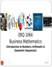 EBQ 1043 Unit 1 - Introduction to Numbers and Sequences