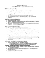 Principles of Management notes Building Relationships by Communicating Supportively 1 Notes