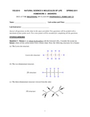 Homework 3 (MOL S11) - ANSWERS