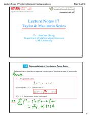 Lecture Notes 17 Taylor & Maclaurin Series(2)