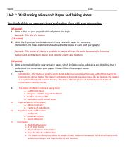 Unit 2.04 Research Planning Template Mrs. Smoak