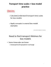 Lecture notes 8; Transport time scales  box model (handout)