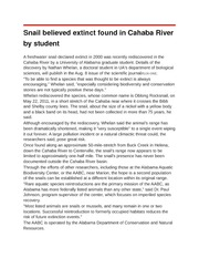 Snail believed extinct found in Cahaba River by