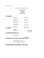 Introduction to Comparative Govt. (POS 150) French Political Regimes