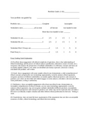 Final Ethics Portfolio Grading Sheet Fall 2014