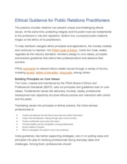 Ethical Guidance for Public Relations Handout