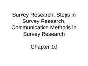 Survey Research, CHapter 10