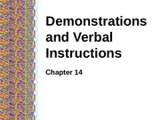 Demonstrations & Verbal Instructions Slides