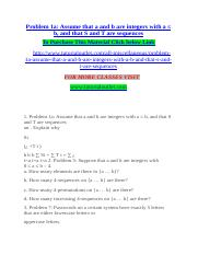Problem 1a Assume that a and b are integers with a ≤ b, and that S and T are sequences