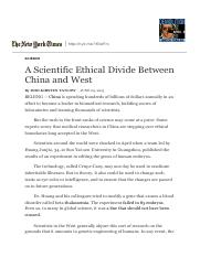 A Scientific Ethical Divide Between China and West - NYTimes.pdf