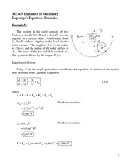 Lagrange's Equations Examples Problem Set