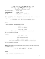 AMS 361: Applied Calculus IV Solutions to Homework 1
