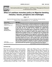 Effect of cashless monetary policy on banking industry